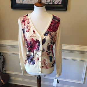 Charter Club Floral Sequin Cardigan PM